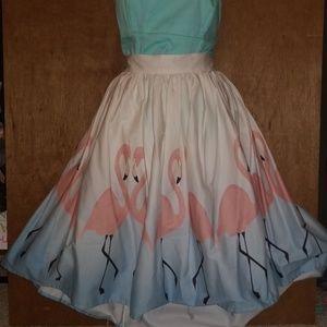 UNIQUE VIntage flamingo circle skirt
